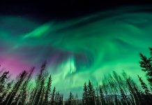 Fairbanks, Alaska during a strong Aurora storm