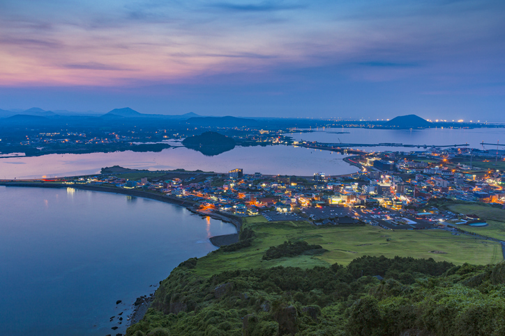 Jeju city, view from Sunset Peak.Jeju island is one of the UNESCO nature tourism site in Korea, cities of South Korea