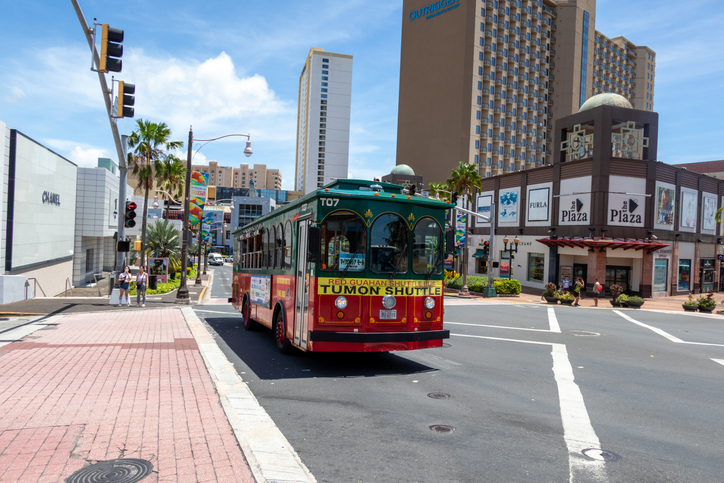 Tuom, GUAM, USA - June 26, 2019: Tumon is the center of Guam tourism industry. Hotels, shopping centers and other facilities are concentrated along the around of Tumon Bay.