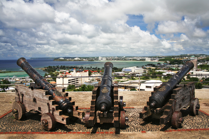 Cannons in Fort Santa Agueda overlooking downtown Guam