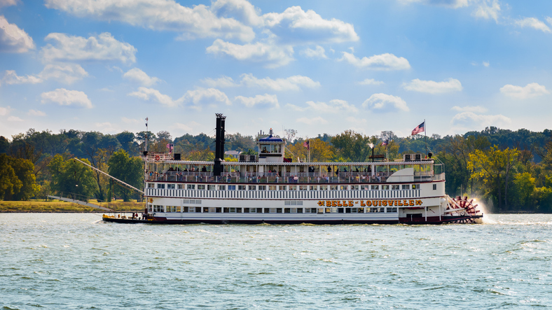 Louisville, Kentucky, USA - Oct. 15, 2016: The Belle of Louisville is the oldest operating Mississippi River-style steamboat in the world. The Belle offers a variety of cruises on the Ohio River.