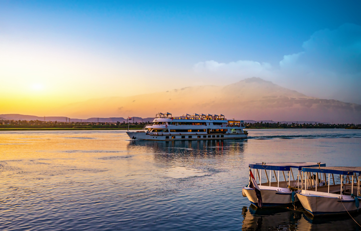 River Nile and ship at sunset in Aswan,