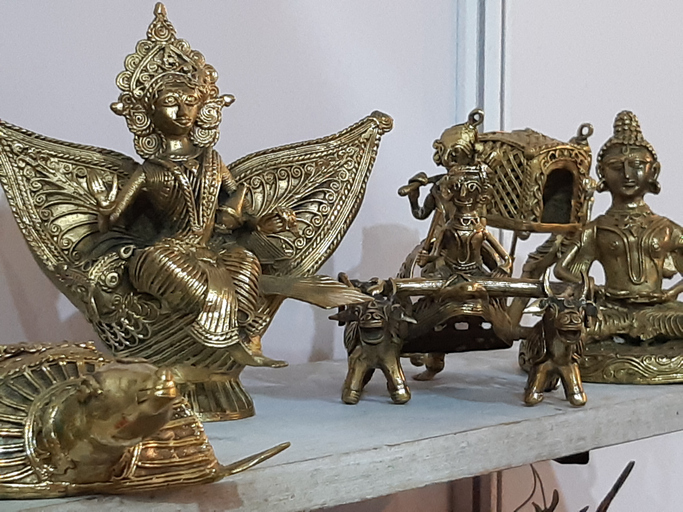 Dhokra (also spelt Dokra) is non–ferrous metal casting using the lost-wax casting technique. This sort of metal casting has been used in India for over 4,000 years and is still used.