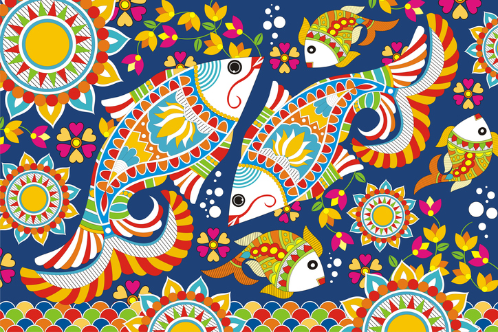 Indian Folk Painting- Ornamental Madhubani Painting of a fish, traditional crafts of india