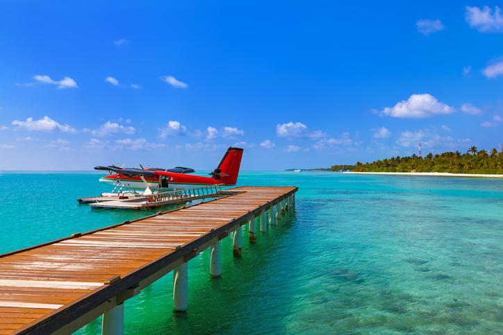 Seaplane at Maldives - nature travel background