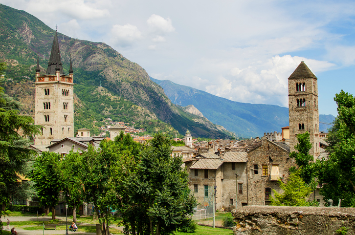 Panoramic view on castel and antic city Susa in Piedmont, Italy, oldest cities in the world