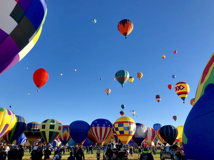 Albuquerque International Balloon Festival - October 6, 2018 - the mass ascension of 500+ balloons just after sunrise.