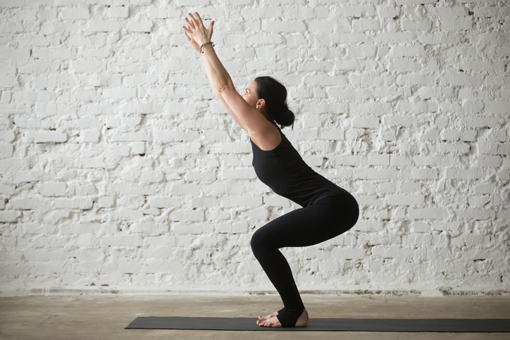 chair pose, online yoga classes