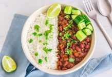 Spicy Vegan Healthy Indian Kidney beans Curry, Rajma Curry with Rice in a Bowl, Healthy Eating Horizontal Stock Photo