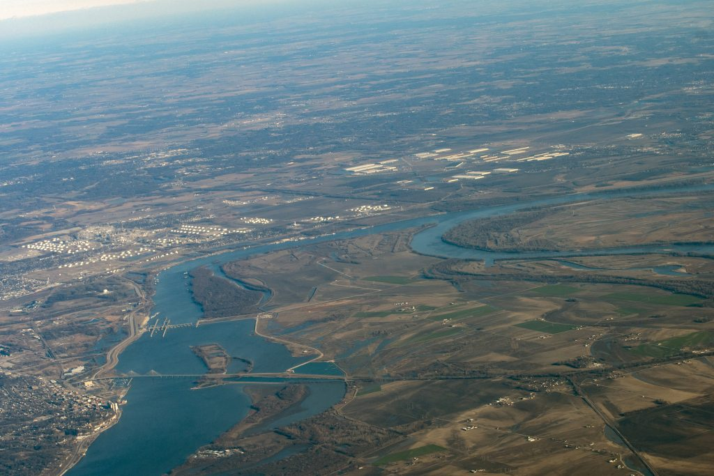 Aerial view of confluence of Mississippi and Missouri Rivers, longest rivers in the world