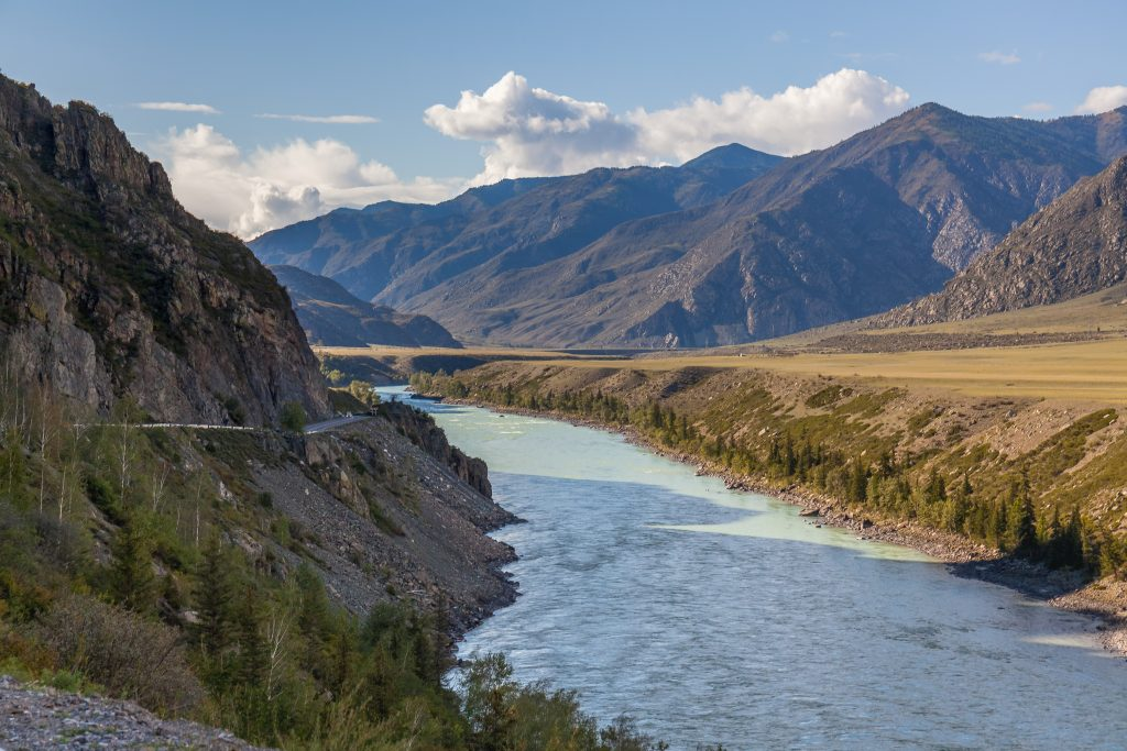 White mountain river in Altai. Altay where Russia, China, Mongolia, and Kazakhstan come together, and where the rivers Ob and Irtysh have their headwaters, longest rivers in the world